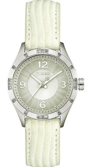 Relógio Timex Couro Branco Promoção Dia Pascoa