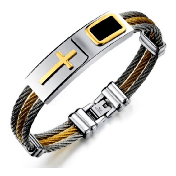 Bracelete Pulseira Banhada Ouro 18k Cruz Dourada Religiosa