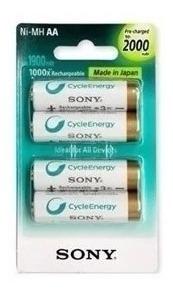 Pilha Recarregável Sony Kit 4 Pilhas Aa 2000 Mah Original