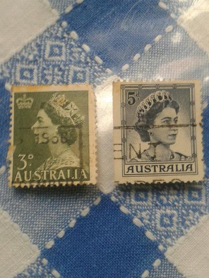 Estampillas Australia. Reinas Isabel Y Elizabeth