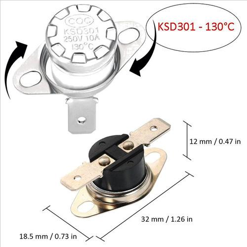 Termostato Térmico 130°c- Ksd301 - 250v - 10a