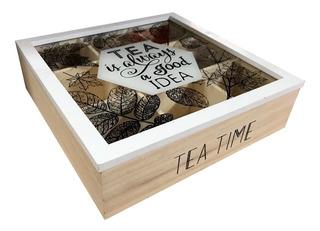 Caja De Madera Para Te Con Divisiones 23x23 Tea Time (pz)