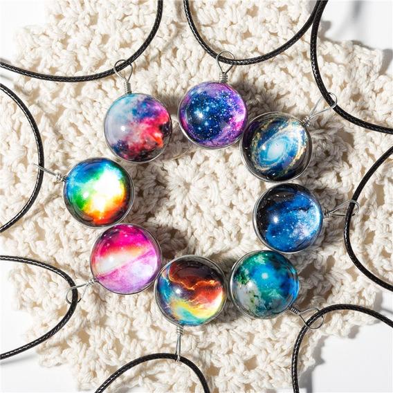 Hermoso Collar Dije Galaxia Esfera Cristal Soga Sintética