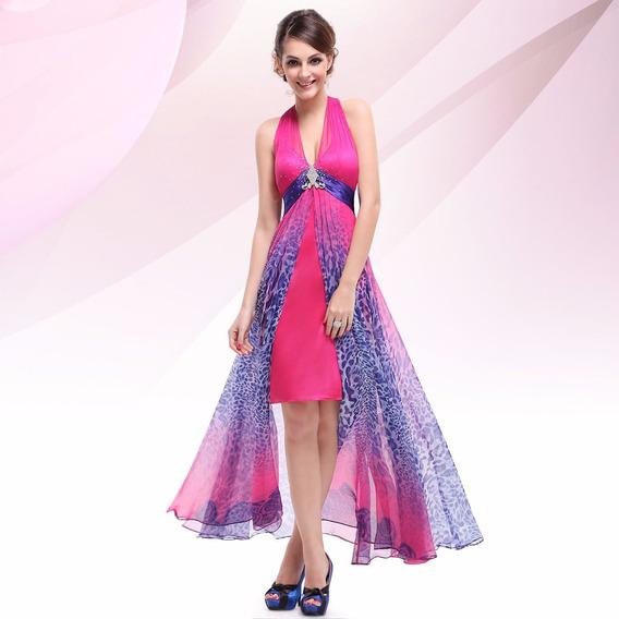 Vestido Festa Formatura 15 Anos Pink Azul Fenda Mullet P M G
