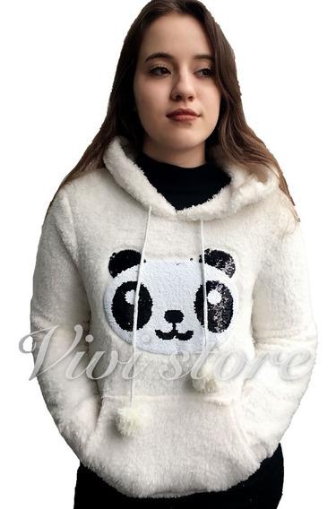 Blusa De Frio Paris Panda Lantejoula Feminina Pelinho Pelúci