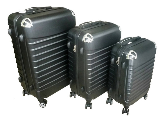 Set 3 Valijas Rigidas Premium De Viaje 8 Ruedas Color Negro