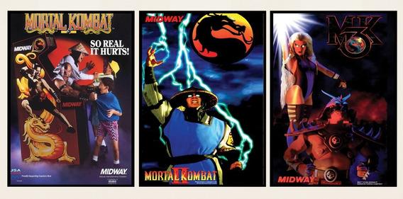 Kit 3 Poster Placa Trilogia Mortal Kombat Super Nintendo Nes