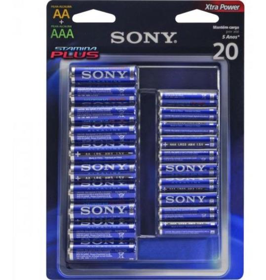 Kit 20 Pilhas Alcalina Sony Stamina Plus 10aa+10aaa