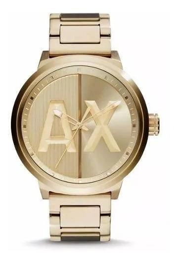Relógio Sx1920 Armani Exchange Ax1363 Analógico Ouro + Caixa
