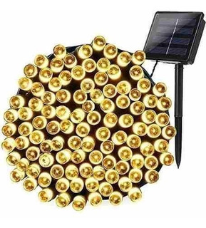 Luces Navidad Solar Deco 200 Led Panel 20mts Blanco Calido