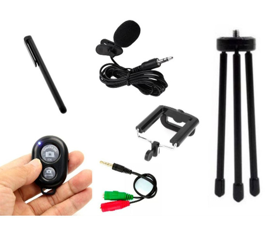 Kit Youtuber 4x1 Sony Tripé, Sup Celular, Controle E Pen