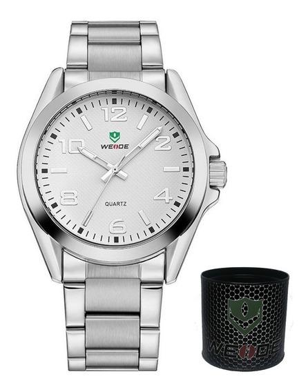 Relógio Masculino Prata E Branco Weide Original Wh-801g Nf