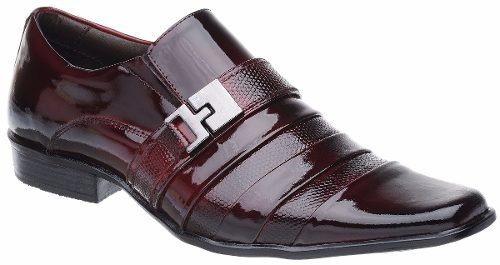 Sapato Social Malbork Em Couro Legitimo Verniz Dark Red