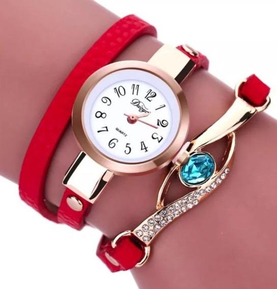 Relógio Feminino De Pulso Elegante Couro Barato