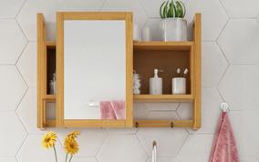 Espelheira / Gabinete Com Espelho Em Madeira Para Banheiro
