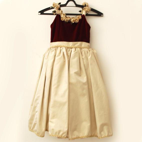 Roupas Para Estúdio:vestido Infantil Vinho/dourado Com Flor