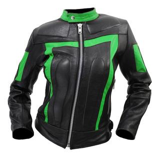 Chamarra De Piel Para Dama Con Protecciones Moto Ms21 Biker
