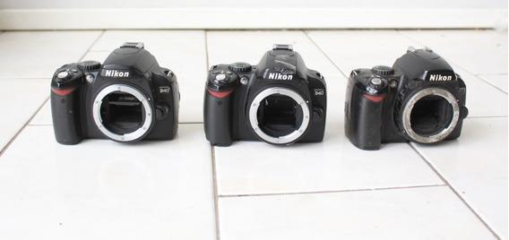 Lote 3 Câmeras Digitais Nikon D40 Sucata P/ Retirada De Peça