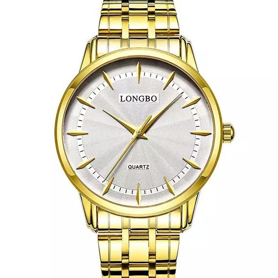 Relógio Longbo Masculino Dourado Social Clássico Original