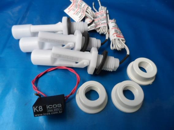 3 Sensores De Nível Água Orig Eicos+ 1 Filtro K8+ Adpt P Pvc