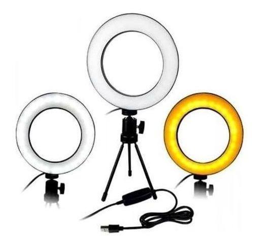 Mini Ring Light + Tripe Iluminador Portátil 16cm Maquiagem