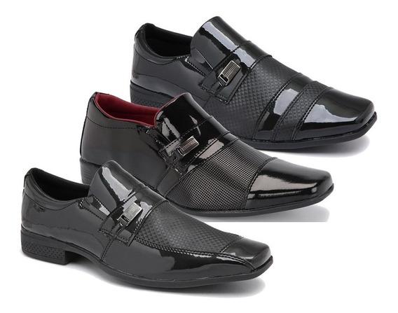 Kit 3 Pares Sapato Verniz Social Masculino Frete Gratis K900