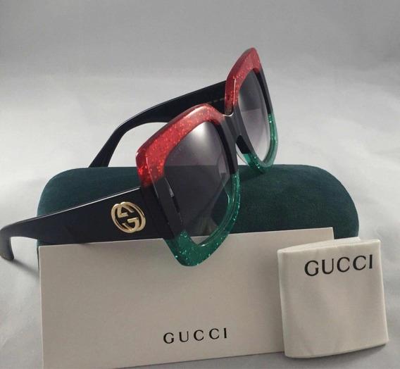 Óculos Gucci Quadrado Tricolor Original Complet Com Garantia