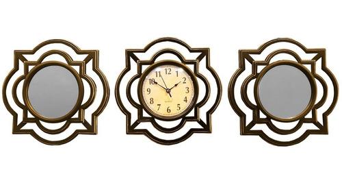 Imagen 1 de 5 de Reloj Pared + 2 Espejo Mural Diseño Dorado 25cm