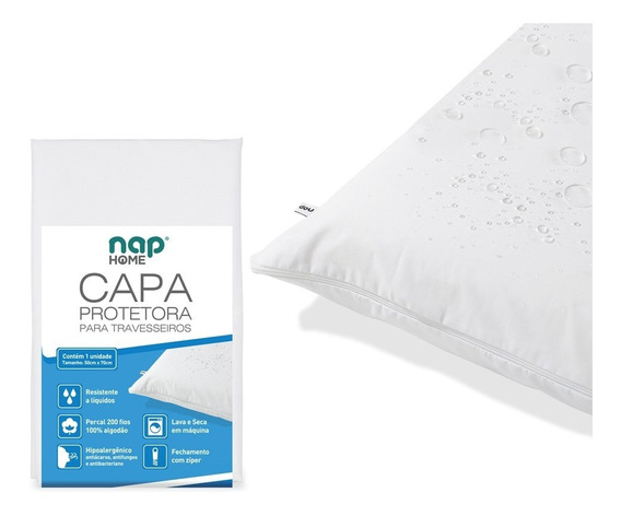 Capa Protetora De Travesseiro Impermeável Antiácaros - Nap