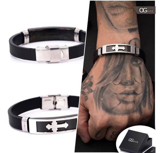 Pulseira Bracelete Masculino Ogrife J-464 Silicone Aço Inox