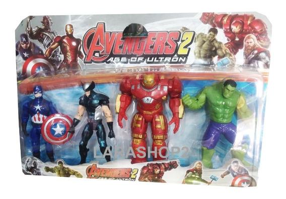 Juguete Vengadores Set 4 Avengers Hulk Iron Man Capitan Niño