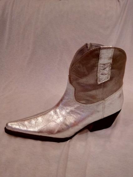 Botineta Mujer Texana Cuero Plata