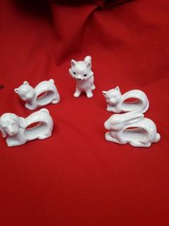 Gatito,osito,perro Y Conejo De Porcelana Antiguos