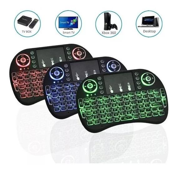 Mini Teclado Air Mouse Touch Sem Fio Tv Box Wireless C/led