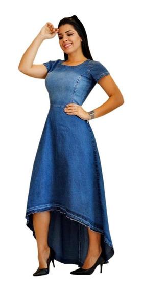 Vestido Feminino Jeans Moda Evangélica Mullet Dandara