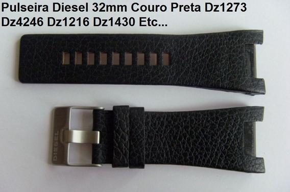 Pulseira Diesel 32mm Dz1273 Dz4246 Dz1216 Dz1430 Couro Preta