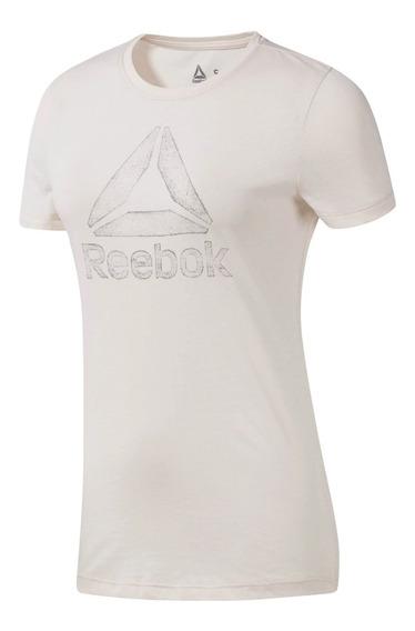 Remera M/c Reebok Running Mujer Graphic Beige Cli