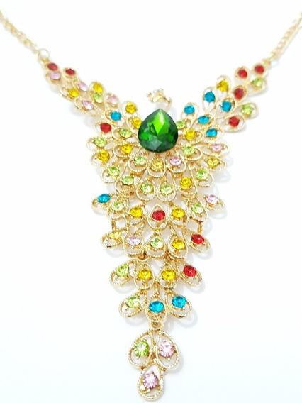 Collar De Pavorreal Con Cristales Estuche Y Envio Gratis