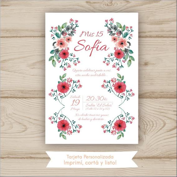 Tarjeta 15 Años Con Flores Rojas Imprimible