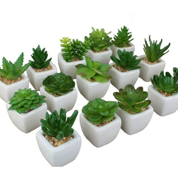 Kit 12 Plantas Mini Suculentas Artificiais Vaso Cerâmica