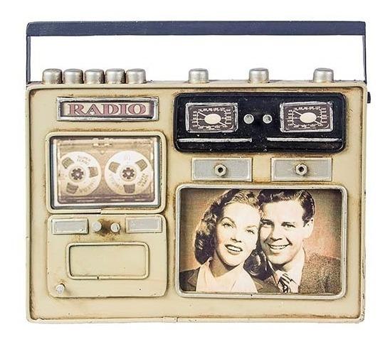 Porta-retrato Vintage Retrô Metal Decorativo Rádio