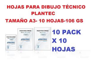 Hojas De Dibujo Técnico A3 Plantec 10 Pack X 10 Hojas 106 Gs