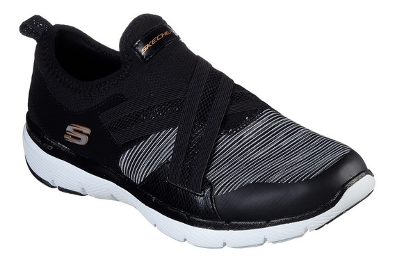 Zapatillas Skechers Flex Apeal Elastizadas Brillo S/cordones