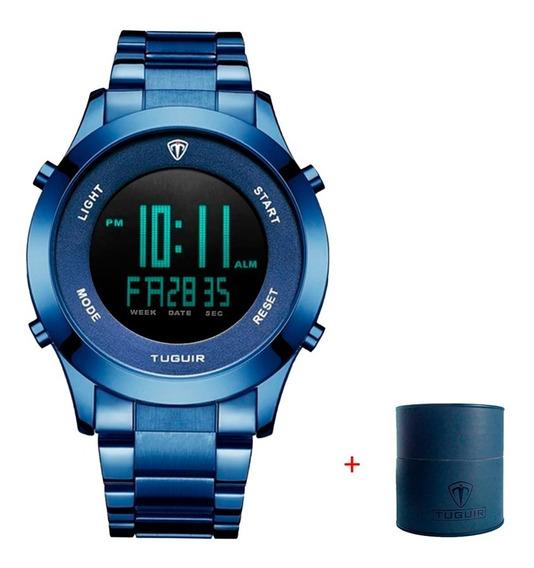Relógio Digital Masculino De Metal Com Resistência Água 3atm