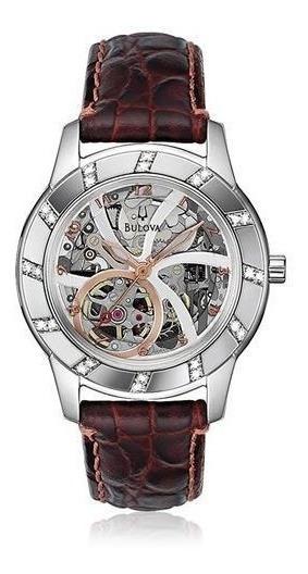 Relógio Bulova Diamantes Wb38151b Marrom Couro Original
