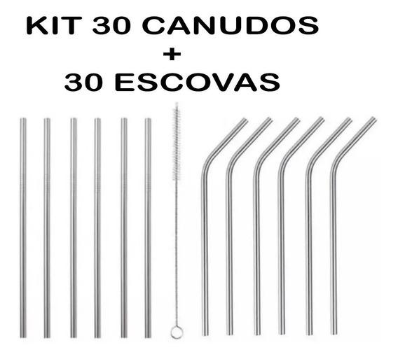 Kit Com 30 Canudos Inox Reutilizável 21,5cm + 30 Escovas