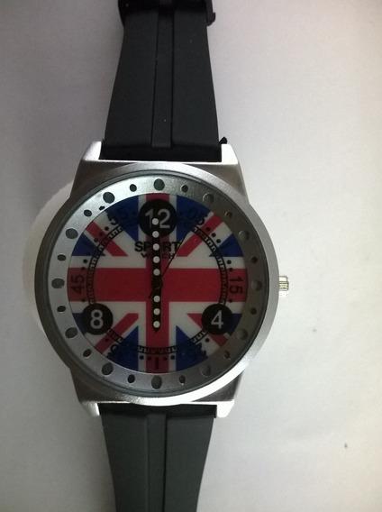 Relógio Bandeira Reino Unido Inglaterra Pulseira Silicone