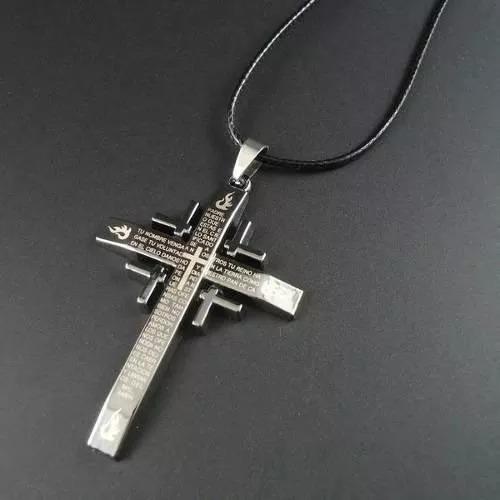 Colar Pai Nosso Pingente Cruz Crucifixo Cordão Frete Grátis