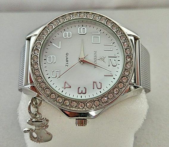 Relógio Importado De Pulso Feminino Prateado Luxuoso Barato