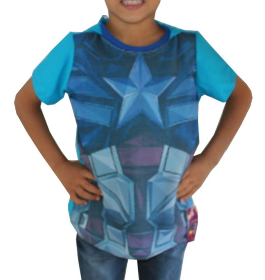 Kit 2 Camiseta Infantil Personagens + Capa - Barato